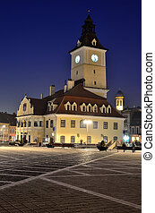 Brasov Council Square, night view in Romania - Brasov...