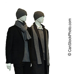 Two male mannequins - 2 male mannequins with winter clothes...