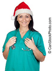 Attractive doctor woman with Christmas hat