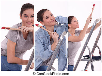 Multiple shot of woman painting