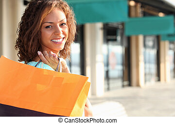 jovem, mulher, shopping