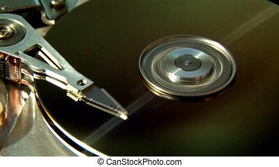 Hard Disk Drive, gold. - Hard Disk Drive, computer data...