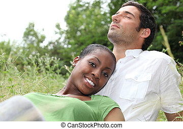 portrait of a couple on the grass
