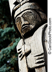 Wood Totem Pole Detail Duncan, BC, Canada - Detail of a...