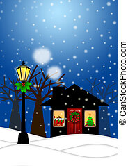 House and Lamp Post in Winter Christmas Scene Illustration -...