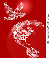 Christmas Peace Dove On Earth Red Background - Christmas...