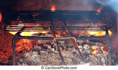 Kebab cooking on open fire