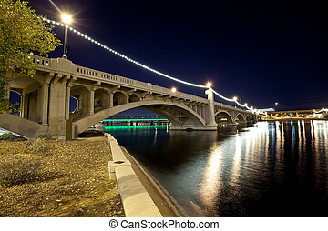 Tempe Arizona Bridge - Mill Avenue Bridge across the Salt...