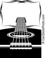 Six-string guitar and an abstract frame. Black and white...