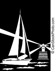 Lighthouse and sailing yacht. Black and white illustration.