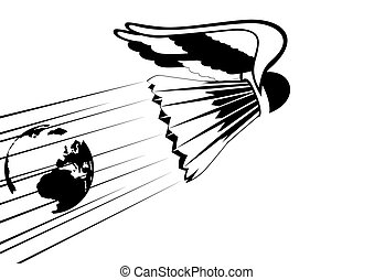 Badminton - Abstract badminton shuttlecock with wings. Black...