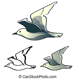 Albatross - Flying albatross (or seagull) designs isolated
