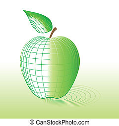 Cyber green apple - Cyber apple with wire-frame All is...
