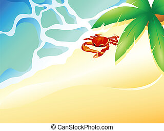 Crab beach - Tropical beach with ocean waves, palm and crab