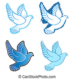 Flying doves - Four flying dove designs in blue colors