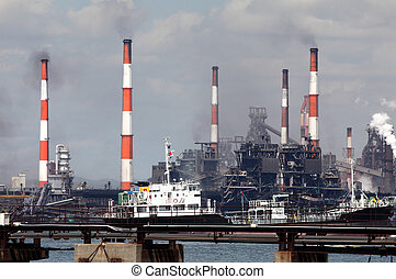 industrial plant with smokestacks