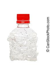 plastic bottle - compressed plastic bottle on white...