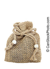 burlap sack - small burlap sack isolated on white background