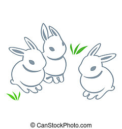 Easter rabbits - Contour cute Easter rabbits isolated
