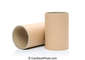 industrial paper tube on a white ba