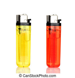 lighter - transparent plastic lighter on white background