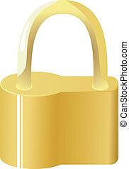 Vector illustration of golden lock