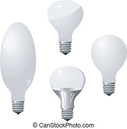 Set of light bulbs. Vector