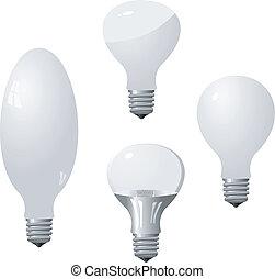 Set of light bulbs. Vector