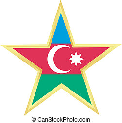 Gold star with a flag of Azerbaijan