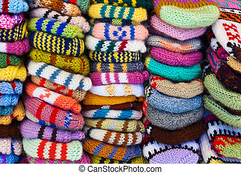 Wool clothing background - Pile of wool clothing - winter...