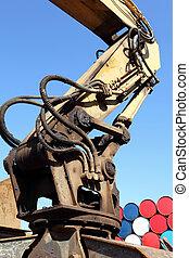 hydraulic device - close up of hydraulic device, hydraulic...