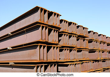 steel girder - large steel girder at industrial site