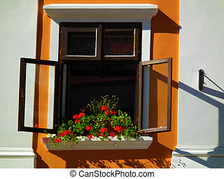 Sunny window on renovated house with flowers in a sunny day.