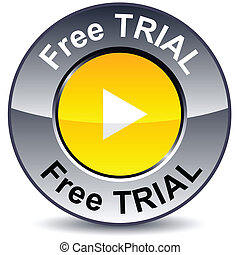 Free trial round button - Free trial round metallic button...