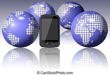 World around mobile phone