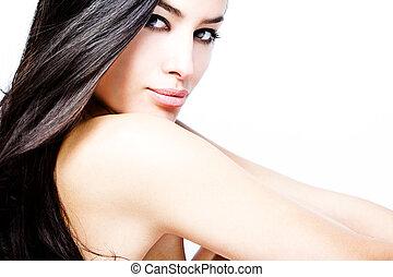 cabelo, pretas, beleza