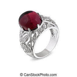 Vintage silver ring with red gem isolated on white