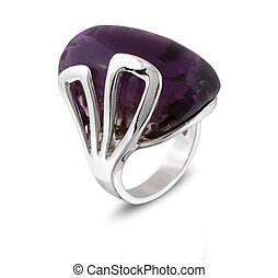 Ring wiht lilac gem - Silver Ring wiht lilac gem isolated on...