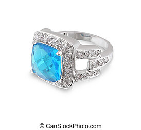 Silver ring with blue gem