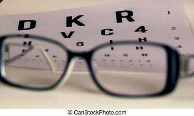Eye test and eyeglasses - Eye test and black eyeglasses....