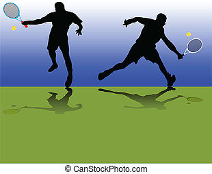 Tennis players silhouette - vector