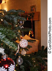 Christmas Tree - Baubles hanging from a real Christmas tree...