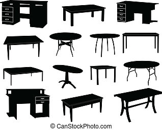 Collection of tables silhouettes - vector