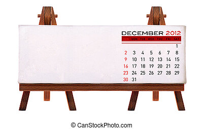2012 desk calendar (picture and to add notes. Isolated white...