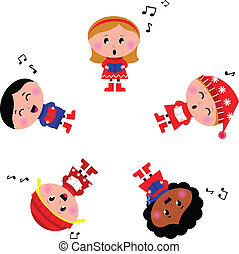 Winter kids singing Silent Night song Cartoon Illustration -...