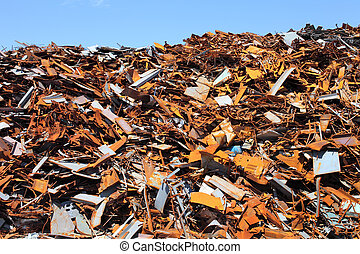 scrap metal - Pile of scrap metal at a recycling facility