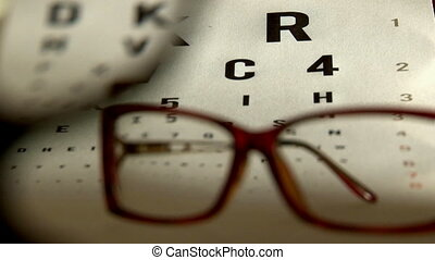 Eye test and red eyeglasses. Healthcare, medical test.