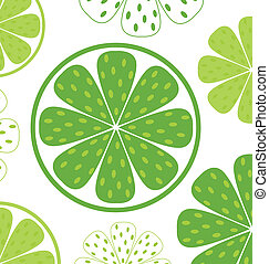 Lime slices pattern or background - green and white - Light...