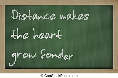 """ Distance makes the heart grow fonder "" written on a..."