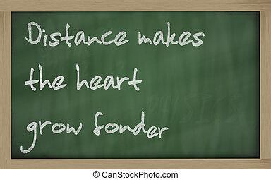 """"""" Distance makes the heart grow fonder """" written on a..."""